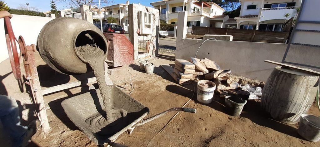 Construction building site - cement mixer