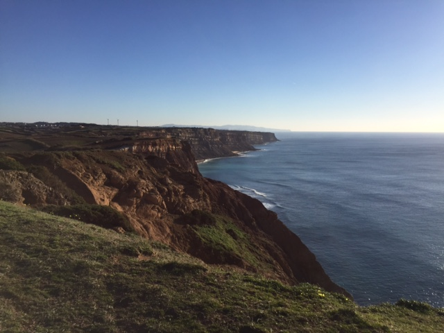 Mountain biking (BTT) trail view over cliff Ericeira