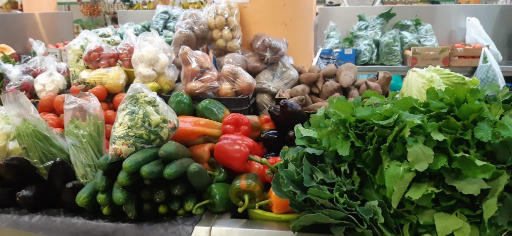Winter vegetable stall, market hall in Ericeira