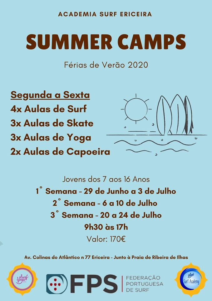 Summer Camp 2020 flyer: Yoga, Surf, Skate & Capoeira for 7 to 16 years old, from 29 June to 24 July. Fee €170 per week. Courtesy Academia Surf Ericeira