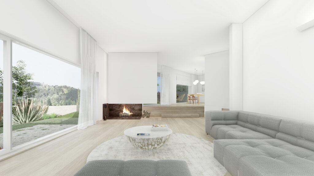 A house, fireplace